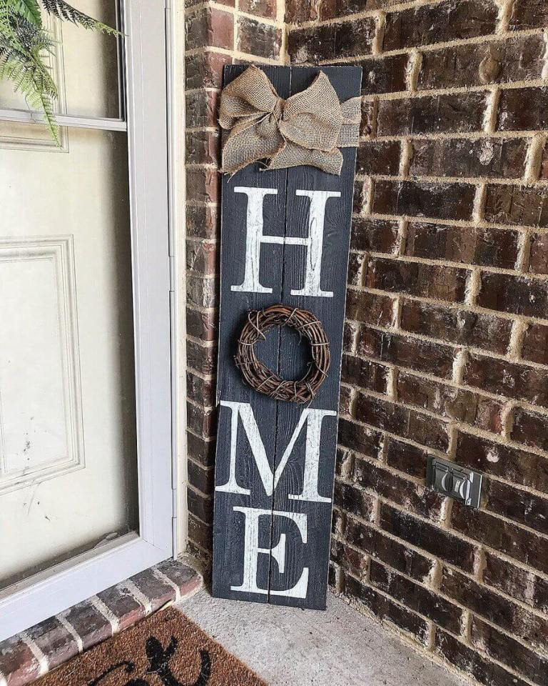 Vertical Home Sign with Burlap Band