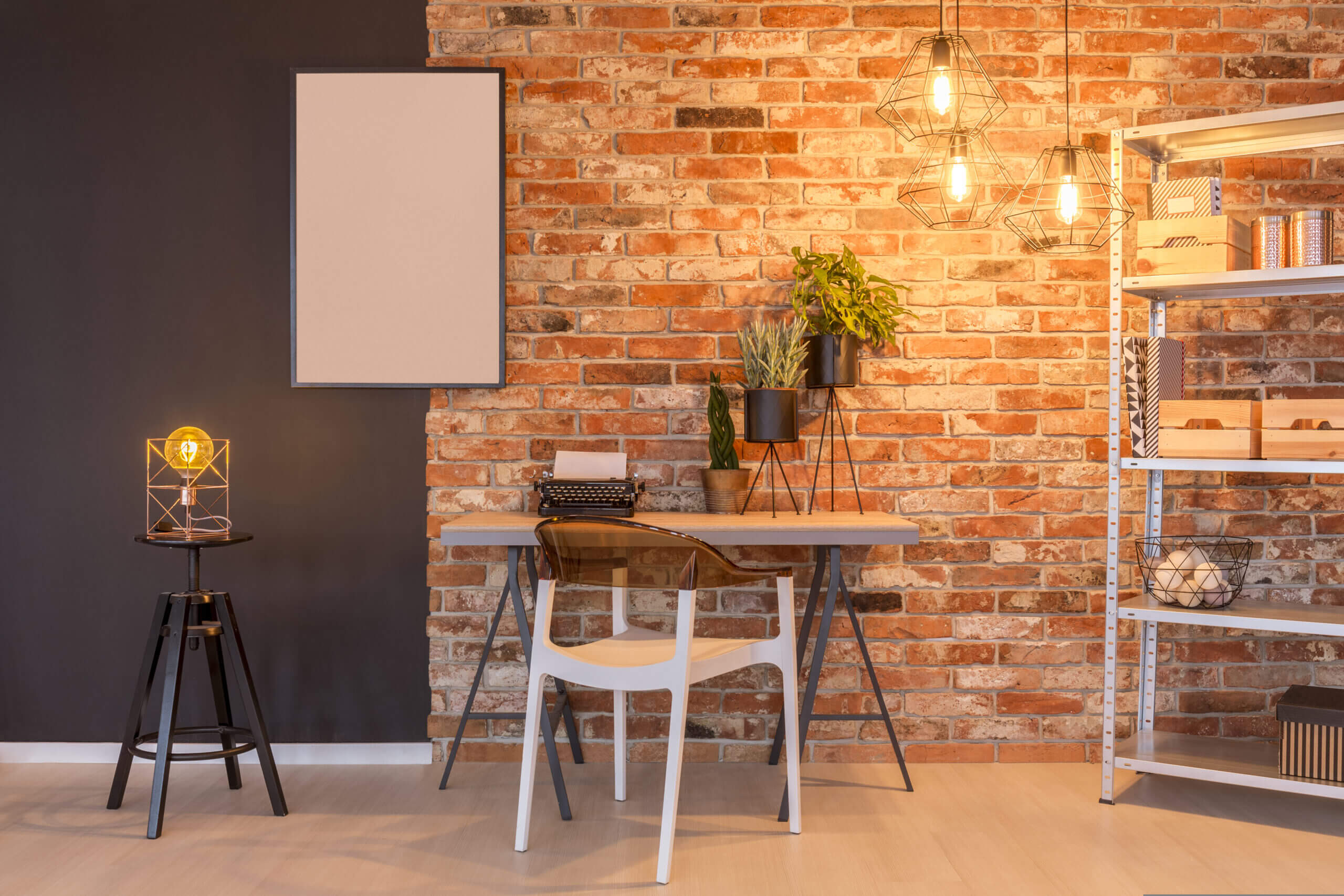 Working Station with Brick Wall