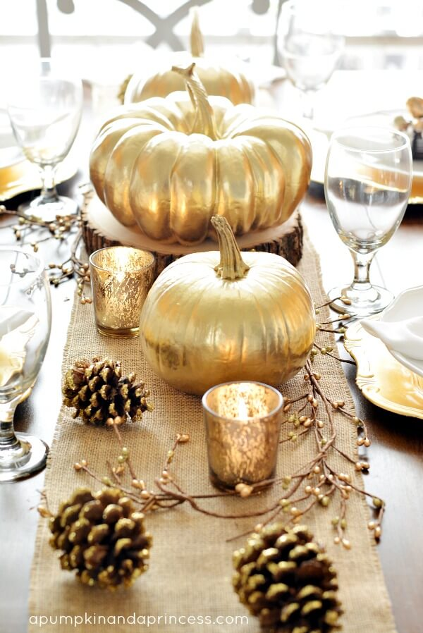 Golden pumpkins - Fall-Thanksgiving-Tablescape