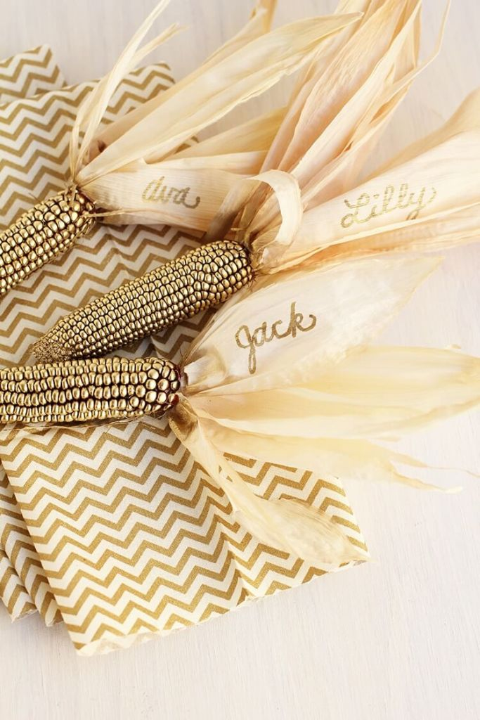 Personalized corn stalks - Thanksgiving-Place-Holders