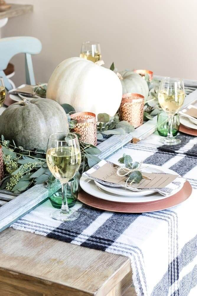 Contrast greens with plaids - Green-Copper-Thanksgiving-Tablescape