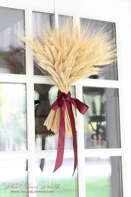 Wheat stalks as door decorations
