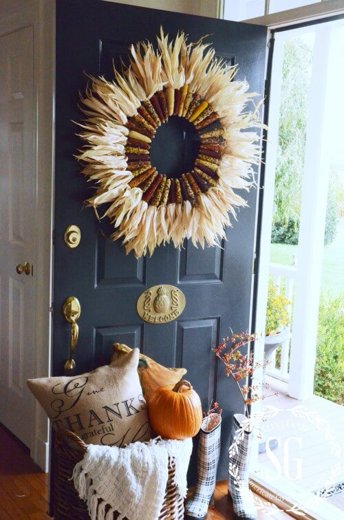 Corn stalks - wreathes - INDIAN-CORN-WREATH-DIY-open-door